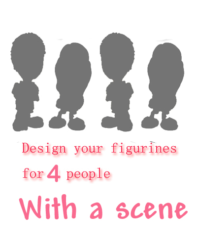 Personalised figurine for 4 people with a scene