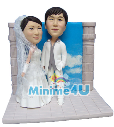 Wedding doll with sky background