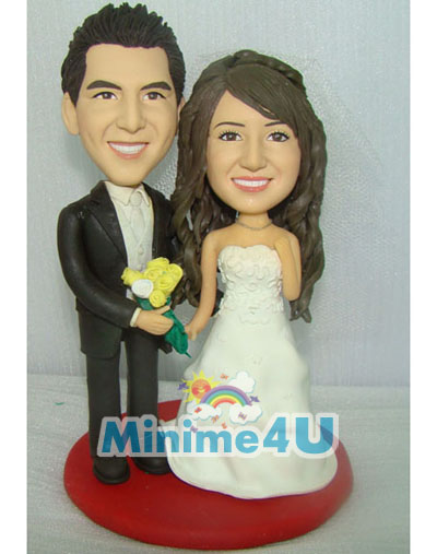 Happy wedding couple minime doll
