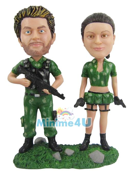 soldier couple cake topper