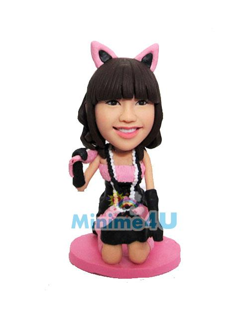 personalised cat woman figurine