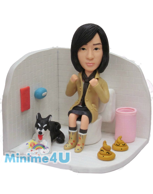 Funny toilet girl with pet figurine