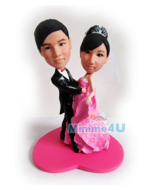 pink wedding dress cake topper