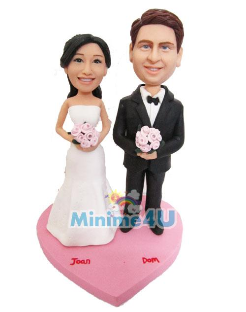 happy couple custom wedding cake topper